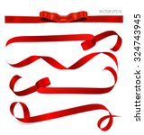 shiny red ribbon on white... | Shutterstock .eps vector #324743945