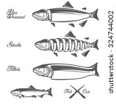 salmon cuts diagram   whole... | Shutterstock . vector #324744002