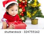 Happy Little Girl  In Santa Red ...