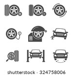 vector tire wheel service black ... | Shutterstock .eps vector #324758006