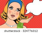 pop art illustration of girl... | Shutterstock .eps vector #324776312