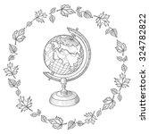 retro vector doodle of a world...   Shutterstock .eps vector #324782822