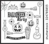 set of vintage happy halloween...   Shutterstock .eps vector #324785855