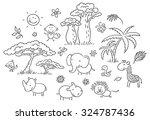set of cartoon exotic african...   Shutterstock .eps vector #324787436