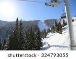 Ski Lift In Ski Resort In Winter