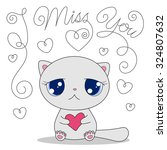 cute cartoon cat with heart and ... | Shutterstock .eps vector #324807632