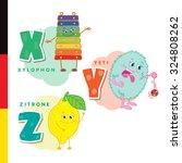deutsch alphabet. xylophone ... | Shutterstock .eps vector #324808262