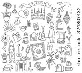 set of turkey icons doodle.... | Shutterstock .eps vector #324809432