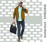 fashionable men. freehand...   Shutterstock .eps vector #324823646