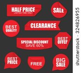 set of red paper sale stickers... | Shutterstock .eps vector #324826955