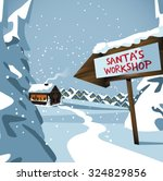 santa's workshop at the north... | Shutterstock .eps vector #324829856