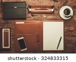 luxurious businessman tools on... | Shutterstock . vector #324833315