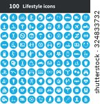 lifestyle 100 icons universal... | Shutterstock .eps vector #324833732