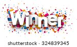 winner sign with colour... | Shutterstock .eps vector #324839345