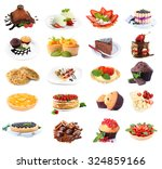 collage of desserts isolated on ... | Shutterstock . vector #324859166