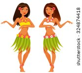 beautiful hawaiian girl dancing ... | Shutterstock .eps vector #324874418
