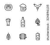 Beer Icons  Hop Branch  Wooden...