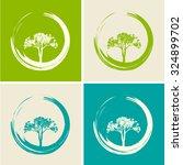 vector trees and zen circles set | Shutterstock .eps vector #324899702