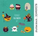 funny halloween set. vector... | Shutterstock .eps vector #324909578