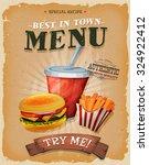 grunge and vintage fast food... | Shutterstock .eps vector #324922412