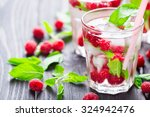 cocktail with raspberry and...   Shutterstock . vector #324942476