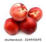 big peaches isolated on white  | Shutterstock . vector #324945695