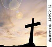 concept conceptual black cross... | Shutterstock . vector #324970472