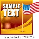 American Flag On Orange...