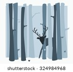 shy deer in the woods  hiding... | Shutterstock .eps vector #324984968