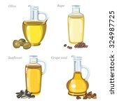 four glass bottles with oil and ...   Shutterstock .eps vector #324987725