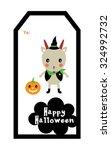 cute goat halloween tag | Shutterstock .eps vector #324992732