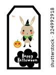 cute bunny halloween tag | Shutterstock .eps vector #324992918