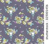 seamless pattern.skull of deer... | Shutterstock .eps vector #325001456