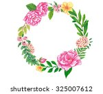 floral wreath hand painted with ... | Shutterstock . vector #325007612