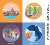 Beautiful set of flat vector banners on the theme of climbing, camping, trekking, expedition in wild corners of the earth, mountain man. Modern flat design.