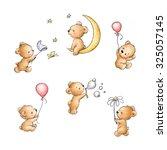 set of cute teddy bears | Shutterstock . vector #325057145