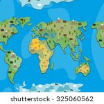 world map with  animals and... | Shutterstock .eps vector #325060562