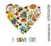 italy poster with cartoon... | Shutterstock . vector #325076228