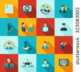 career flat icons set with...   Shutterstock . vector #325083002