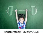 strong kid weight lifting for... | Shutterstock . vector #325090268