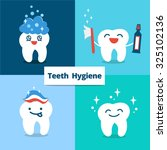 tooth hygiene set. banner with... | Shutterstock .eps vector #325102136