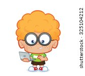 nerd boy with his laptop | Shutterstock .eps vector #325104212