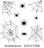 spiders and cobwebs  set of... | Shutterstock .eps vector #325117358