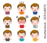 illustration of cute boy faces... | Shutterstock .eps vector #325118072