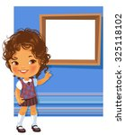 cute little girl wearing school ... | Shutterstock .eps vector #325118102