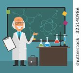 old scientist points to... | Shutterstock .eps vector #325140986
