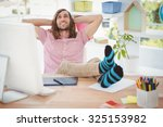 happy hipster relaxing with... | Shutterstock . vector #325153982