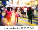 people in hong kong cross...   Shutterstock . vector #325155545