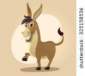 Cartoon Donkey Smile And Happy...