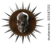 shiny dark metal skull on rusty metal plate with shiny metal spikes around,isolated on white, post-apocalyptic raiders crest. 3d render